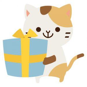 誕生日プレゼントを渡す猫