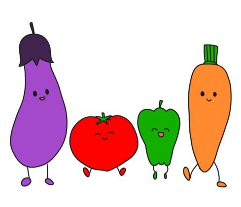 擬人化の野菜達