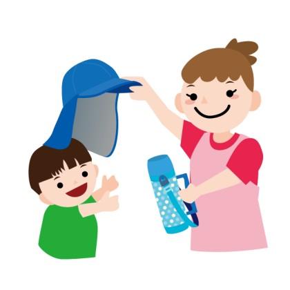 熱中症対策をする親子