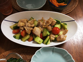 鶏肉ときゅうりの甘酢炒め