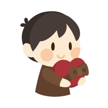 バレンタインチョコを持っている男性