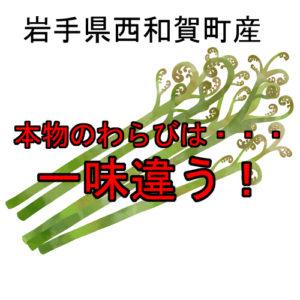 岩手県西和賀町産の西わらび